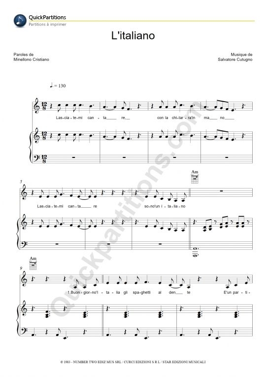 L'Italiano Piano Sheet Music - Toto Cutugno