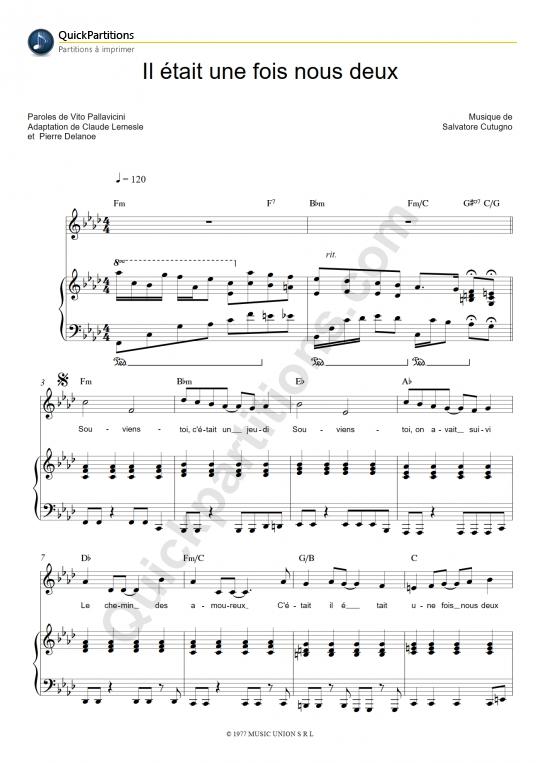 Partition piano Il était une fois nous deux - Joe Dassin