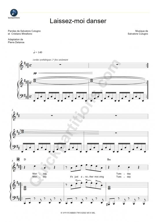 Partition piano Laissez-moi danser - Dalida