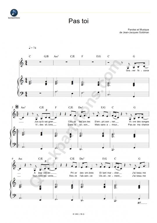 Partition piano Pas toi - Jean-Jacques Goldman