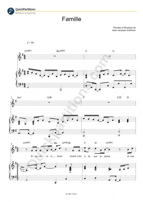 Partition Piano Famille - Jean-Jacques Goldman