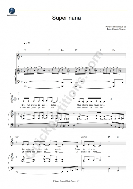 Super nana Piano Sheet Music - Michel Jonasz