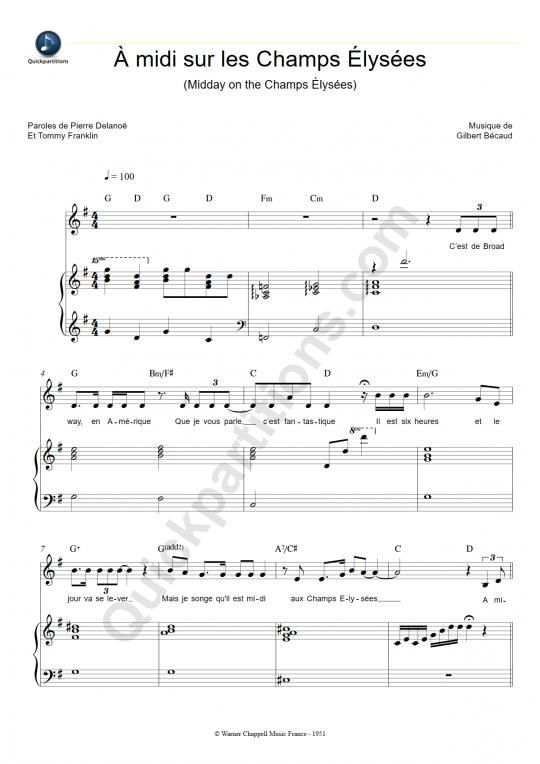 partition musique champs elysees