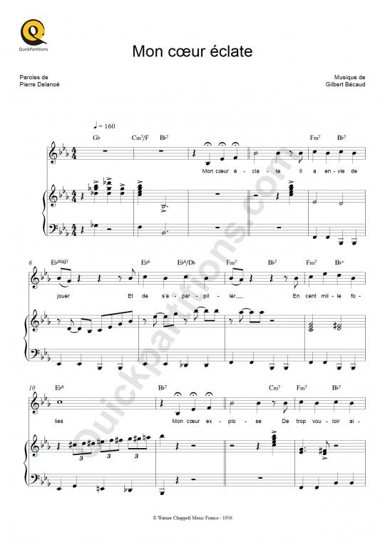 Mon coeur éclate Piano Sheet Music - Gilbert Bécaud