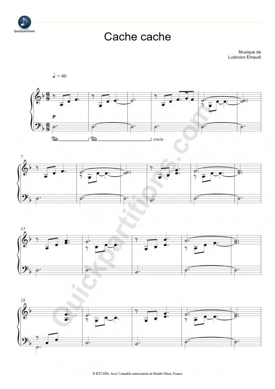 Partition piano Cache Cache - Ludovico Einaudi