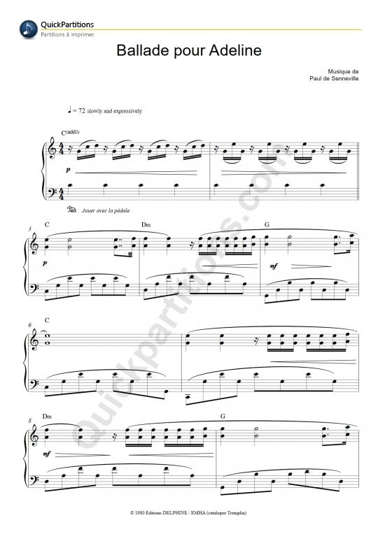 Partition Piano Ballade Pour Adeline Richard Clayderman Partition Digitale