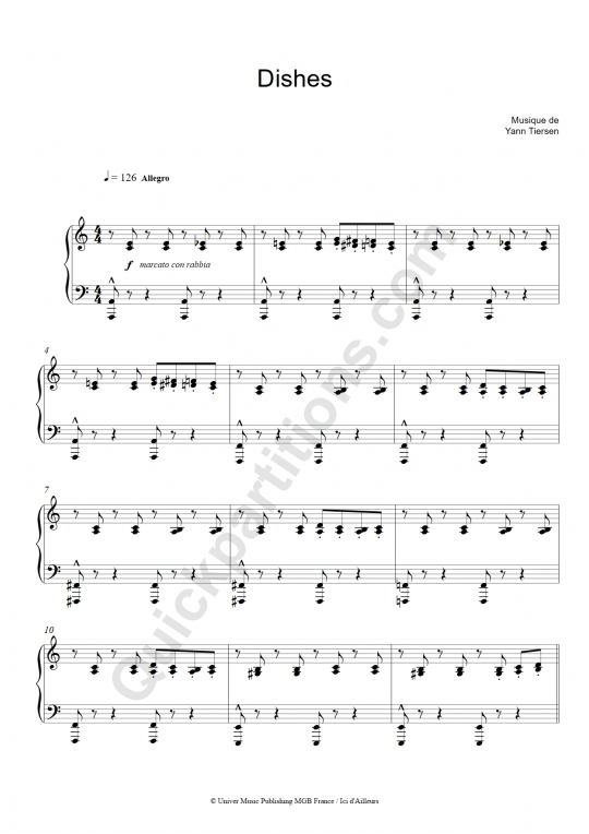 Partition piano Dishes - Good Bye Lenin