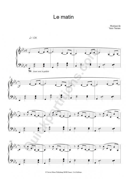 Partition piano Le matin - Yann Tiersen
