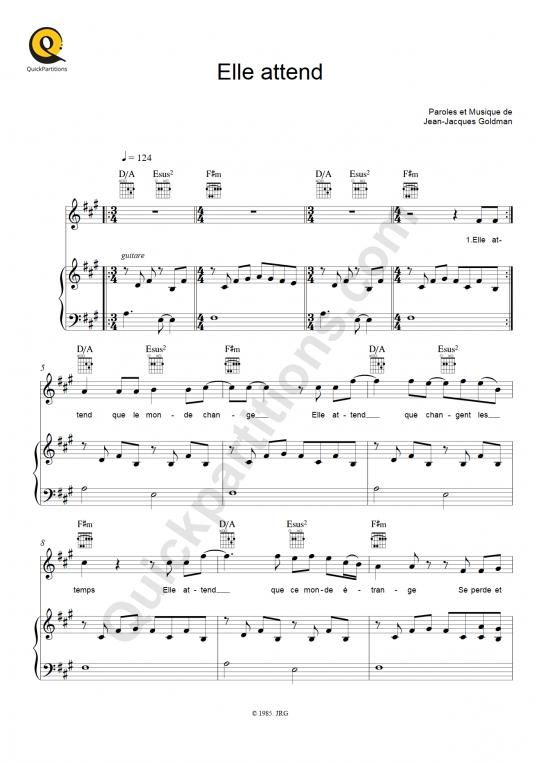 Partition piano Elle attend - Jean-Jacques Goldman