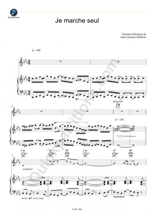 Partition piano Je marche seul - Jean-Jacques Goldman