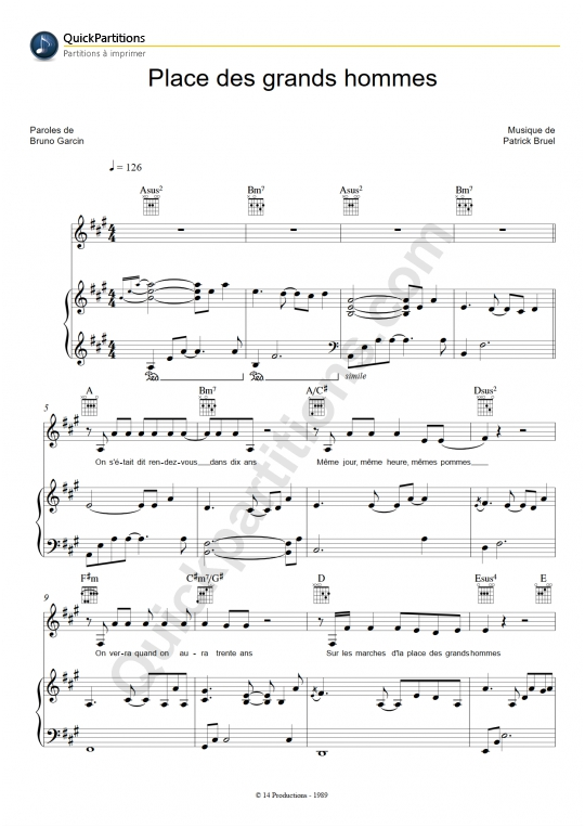 Place Des Grands Hommes Piano Sheet Music - Patrick Bruel