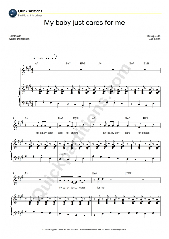 My baby just cares for me Piano Sheet Music - Nina Simone