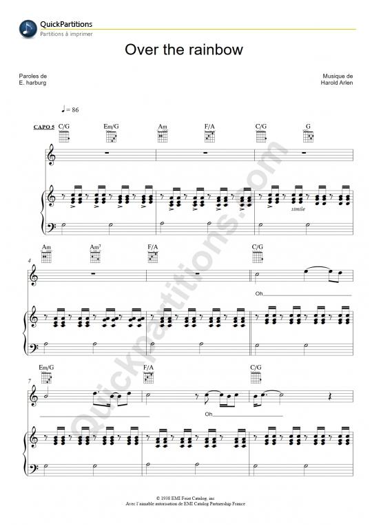 Partition piano Over The Rainbow - Iz