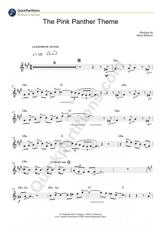 La Panthère Rose (The Pink Panther Theme) Tenor Saxophone Sheet Music - Henry Mancini