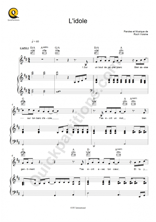 L'idole Piano Sheet Music - Roch Voisine
