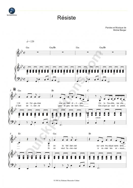 Partition piano Résiste - France Gall
