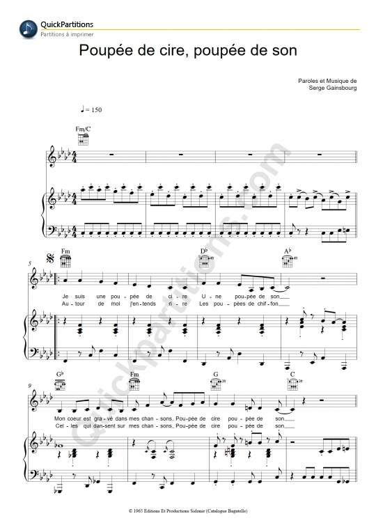 Poupée de cire, poupée de son Piano Sheet Music - France Gall