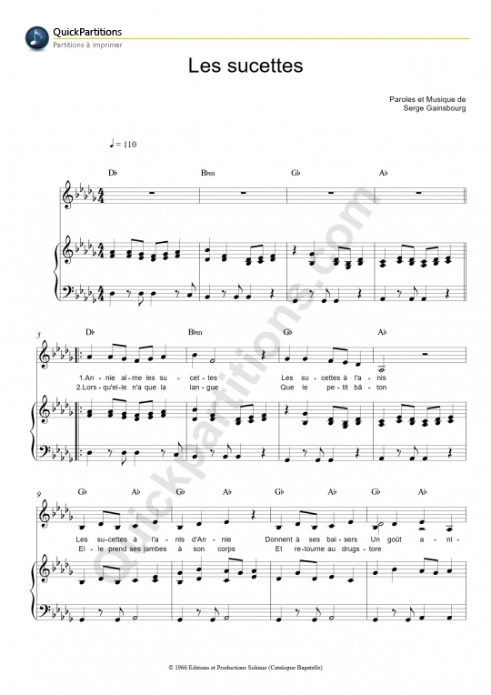 Les sucettes Piano Sheet Music - France Gall
