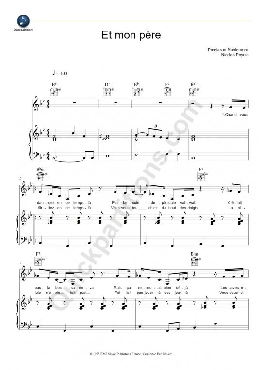 Partition piano Et mon père - Nicolas Peyrac