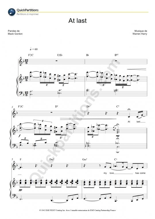 Partition piano At Last - Etta James