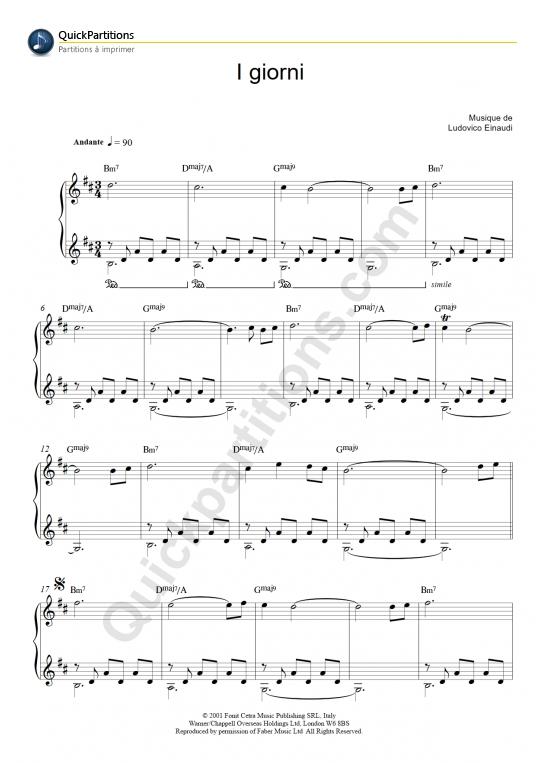 Partition Piano I Giorni - Ludovico Einaudi