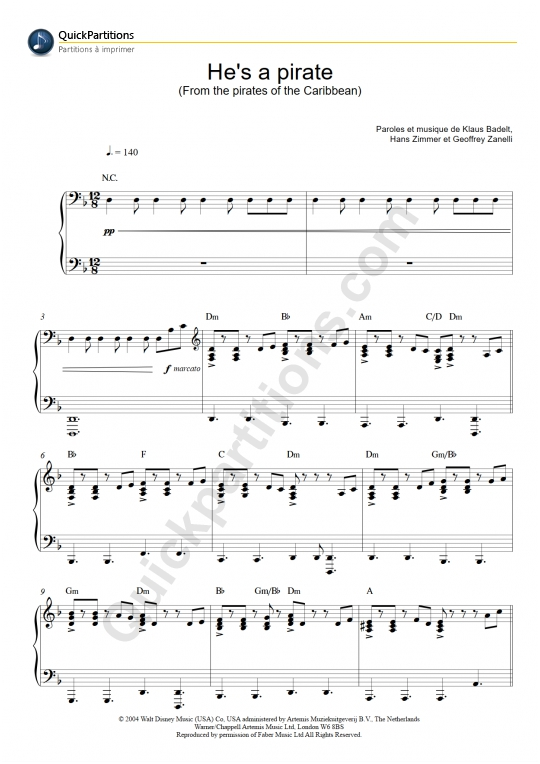 He's A Pirate (Pirates Des Caraïbes) Piano Sheet Music - Klaus Badelt