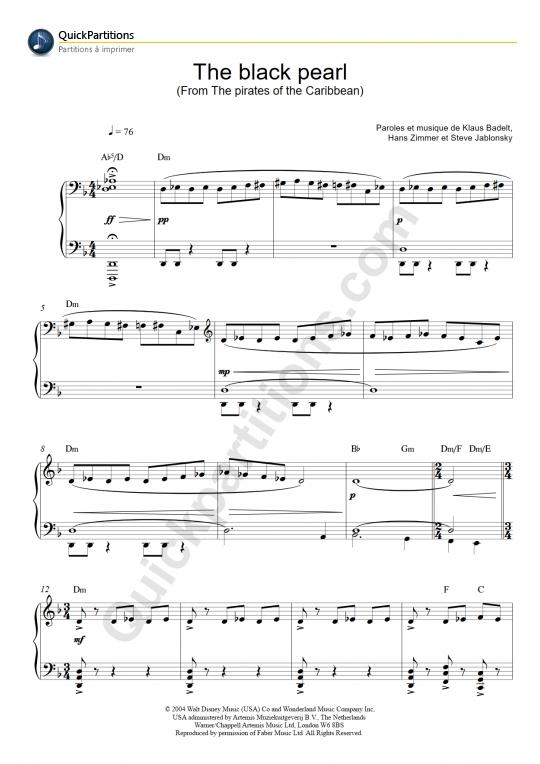 Extrêmement Klaus Badelt - Partitions musicales à imprimer - Mondial de la  BE66