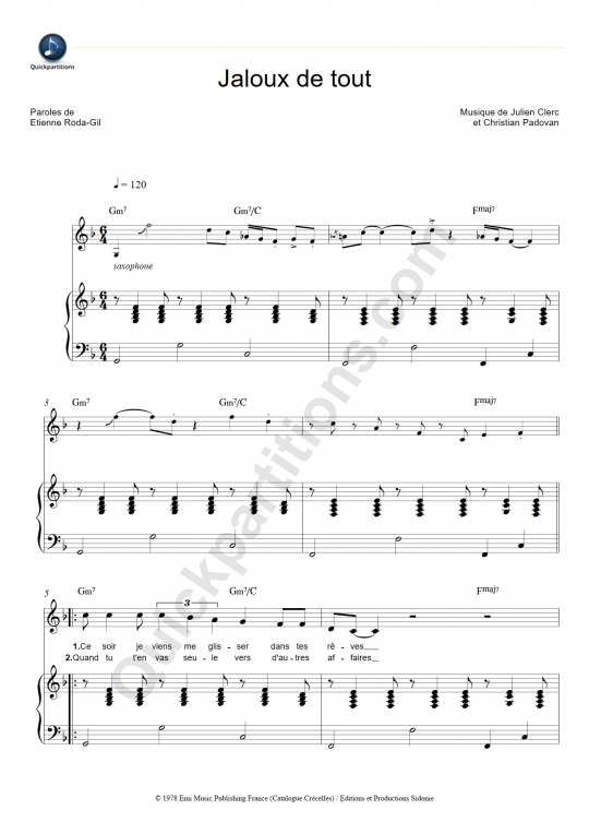 Partition piano Jaloux de tout - Julien Clerc