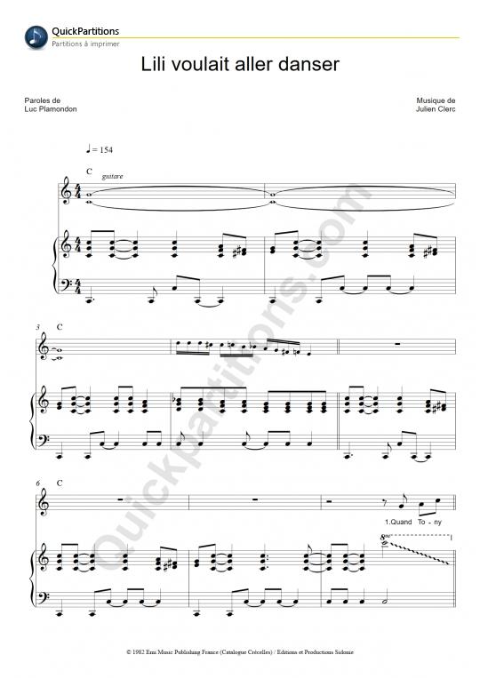 Partition piano Lili voulait aller danser - Julien Clerc