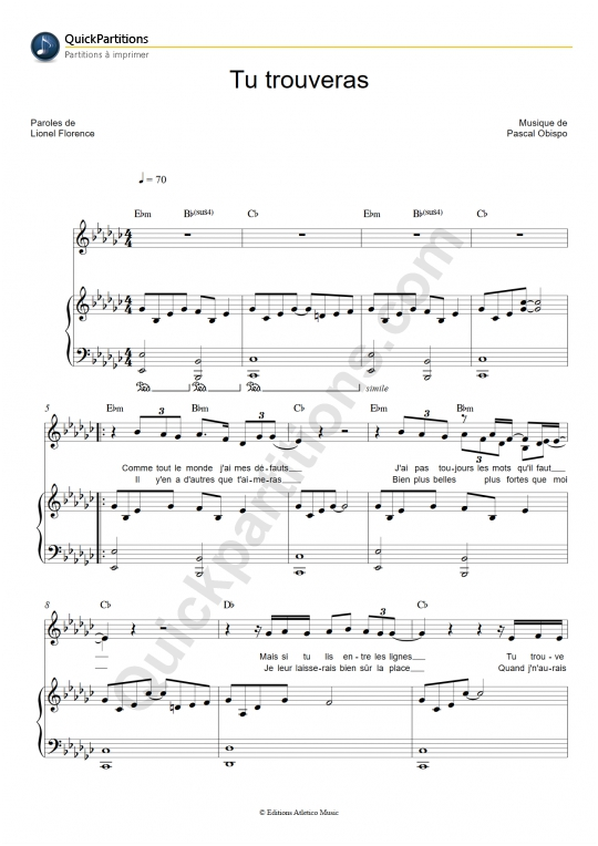 Partition piano Tu trouveras - Natasha St-Pier