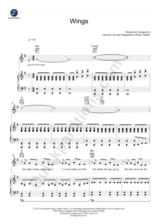 Partition piano Wings - Birdy