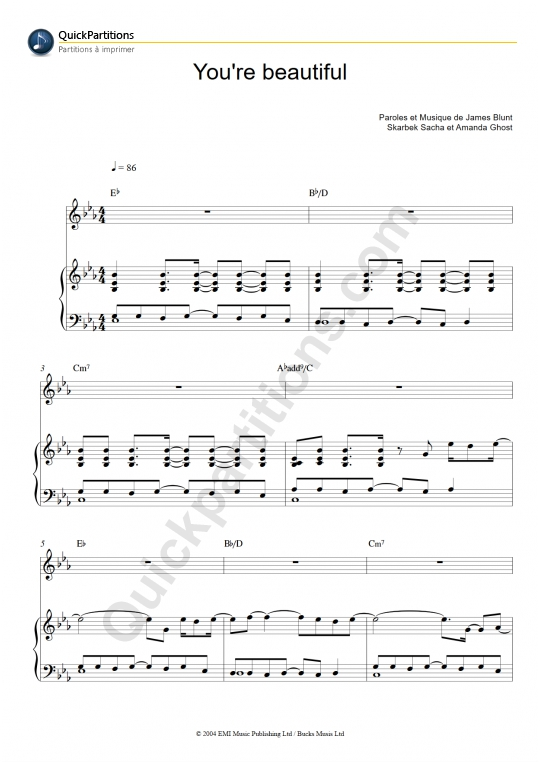 Partition piano You're Beautiful - James Blunt