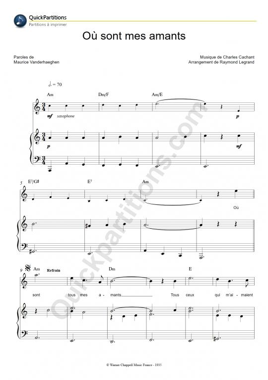 Partition piano Où sont mes amants - Frehel