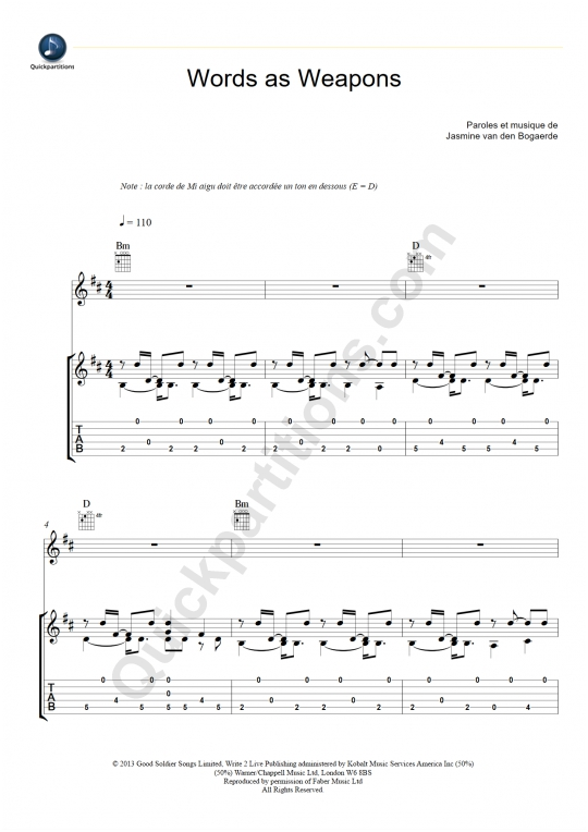 Tablature Guitare Words as Weapons - Birdy