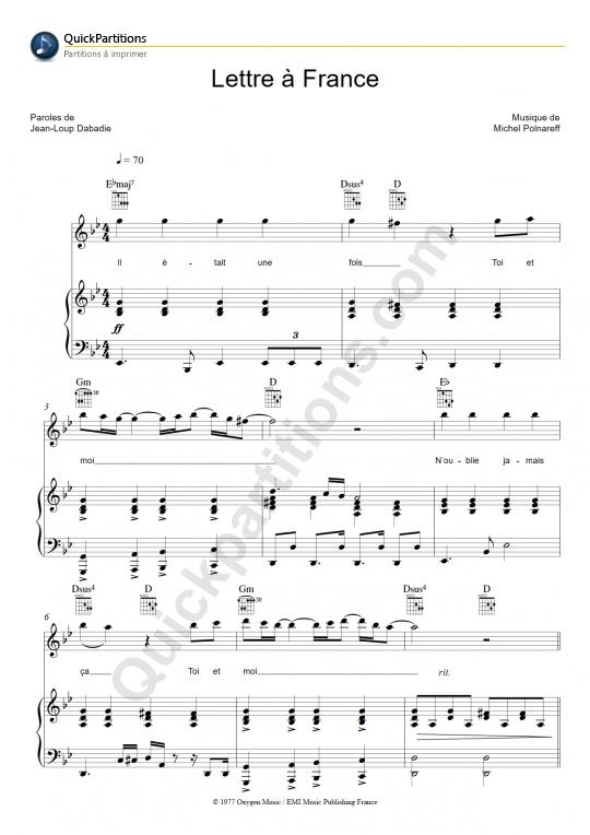 Lettre à France Piano Sheet Music - Michel Polnareff