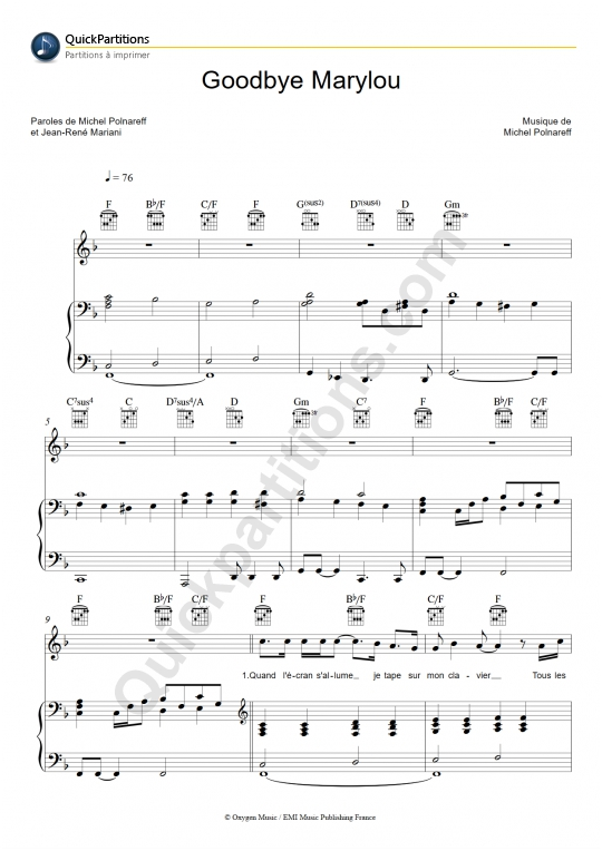 Partition piano Goodbye Marylou - Michel Polnareff