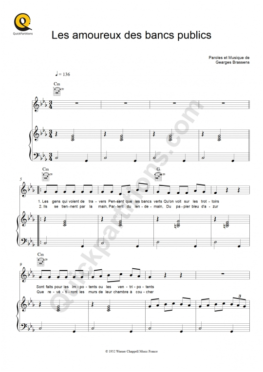 Partition Piano Les Amoureux Des Bancs Publics Georges Brassens