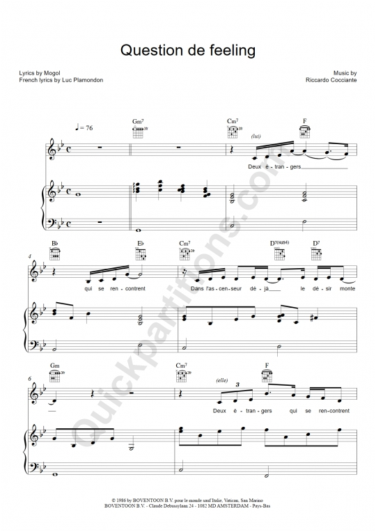 Partition piano question de feeling richard cocciante - Coup de soleil richard cocciante paroles ...