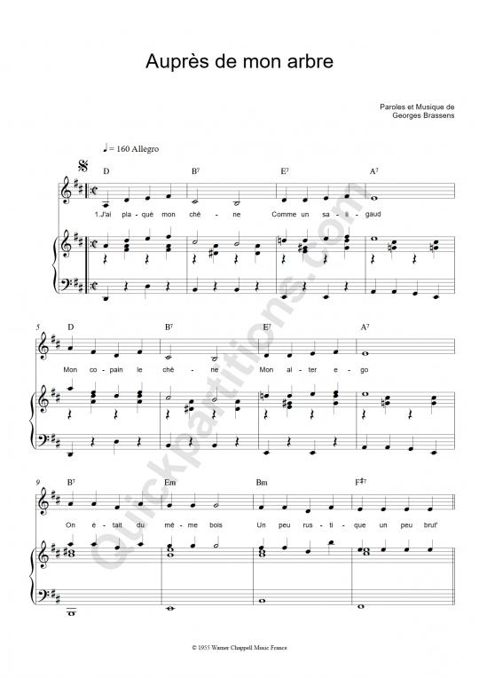Partition piano Auprès de mon arbre - Georges Brassens