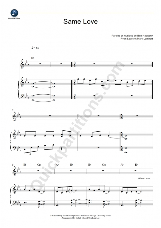 Same Love Piano Sheet Music - Macklemore