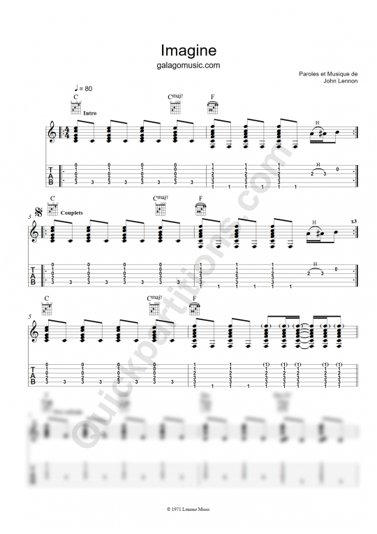 Tablature Guitare Imagine - Galagomusic