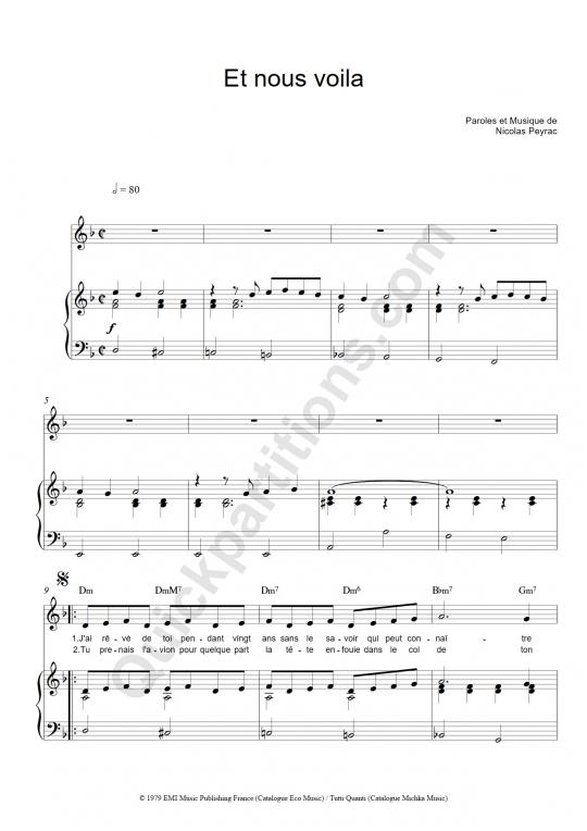 Partition piano Et nous voilà - Nicolas Peyrac