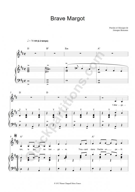 Partition piano brave margot georges brassens partition - Les amoureux des bancs publics paroles ...