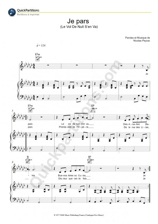 Partition piano Je pars (le vol de nuit s'en va) - Nicolas Peyrac
