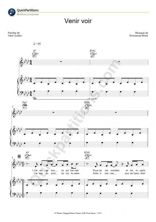 Partition piano Venir voir - Emmanuel Moire