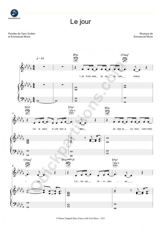 Partition piano Le jour - Emmanuel Moire