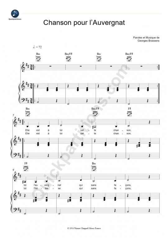 Partition piano Chanson pour l'Auvergnat - Georges Brassens