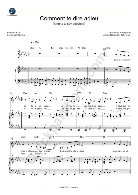 Partition piano Comment te dire adieu - Françoise Hardy