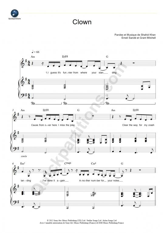 Partition piano Clown - Emeli Sandé