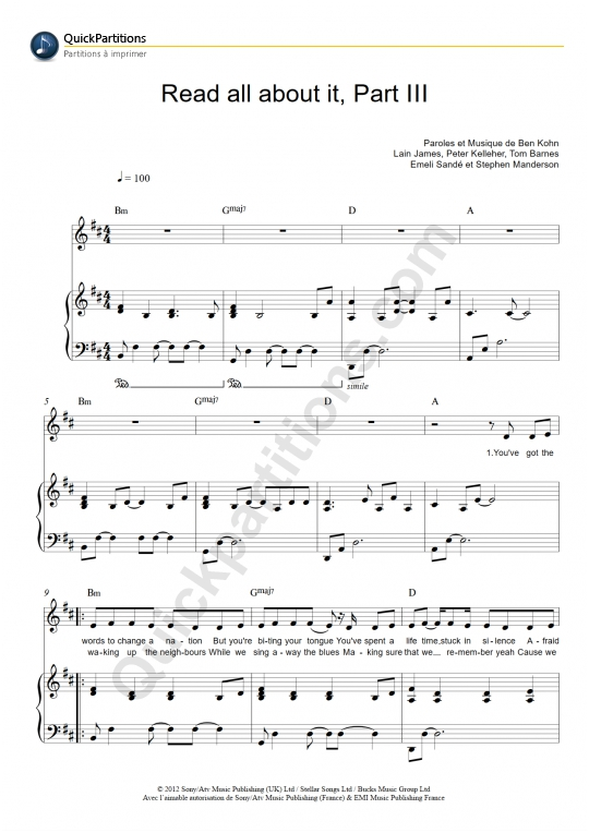 Partition piano Read All About It, Part III - Emeli Sandé